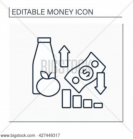 Inflation Line Icon. Decrease In Purchasing Power Of Money. Increase In Prices Of Goods And Services