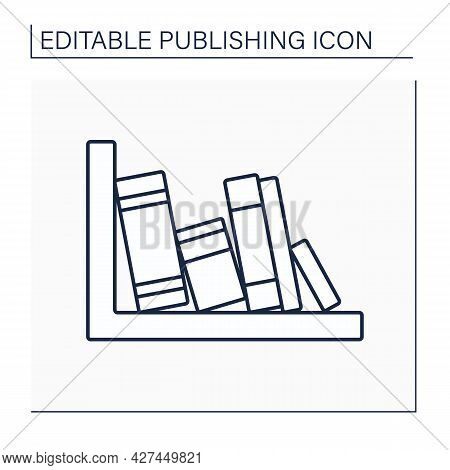 Spine Line Icon. Book Jacket. Cover Encloses Inner Edges Of Pages. Title And The Author Name.publish