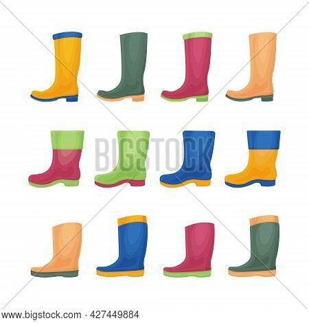 A Large Set With The Image Of Rubber Boots Of Various Colors And Shapes. Rubber Shoes For Walking In