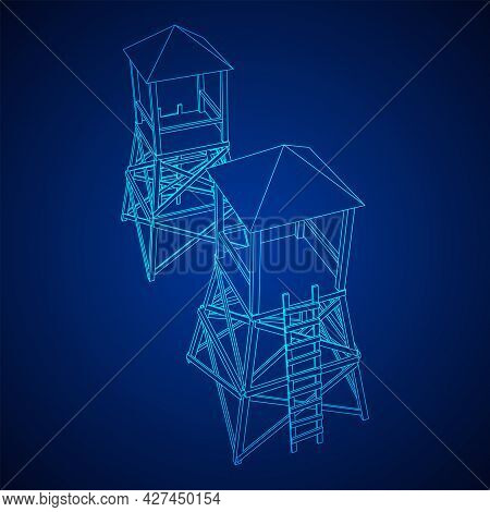 Watchtower Or Observation Tower For Hunters. Wireframe Low Poly Mesh