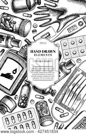 Card Design With Black And White Pills And Medicines, Medical Face Mask, Sanitizer Bottles, Medical