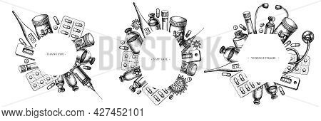 Frames With Black And White Vial Of Blood, Pills And Medicines, Medical Thermometer, Coronavirus Rap