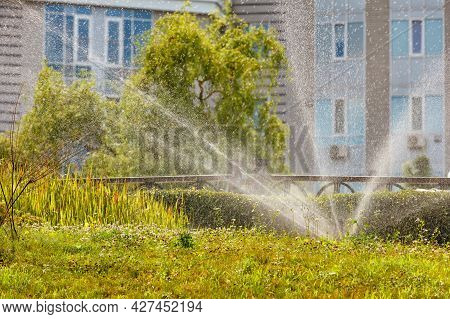 A Garden Irrigation Sprinkler Irrigates The Grass On A City Lawn In The Summer Heat Of The Day Again