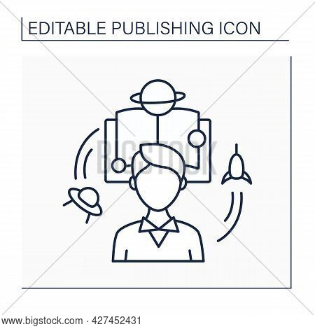 Fiction Line Icon. Special Book Or Story About Imaginary Characters And Events. Stories About Techno