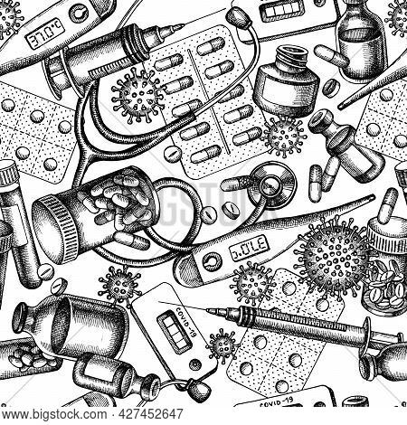 Seamless Pattern With Black And White Vial Of Blood, Pills And Medicines, Medical Thermometer, Coron