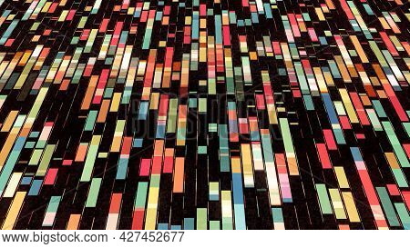 Abstract Colorful Different Segments Flowing On Black Background, Seamless Loop. Animation. Colorful