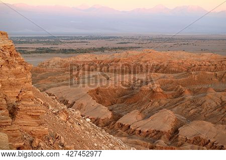 Incredible Landscape Valle De La Luna Or Moon Valley In Atacama Desert Before Sunset, San Pedro De A