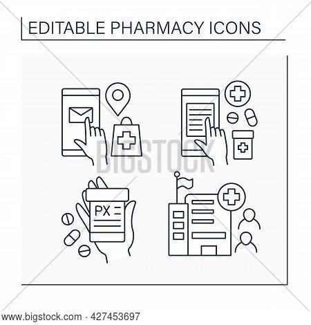 Pharmacy Line Icons Set.public Health, Online Prescription, Mail Order, Label. Healthcare Concept. I
