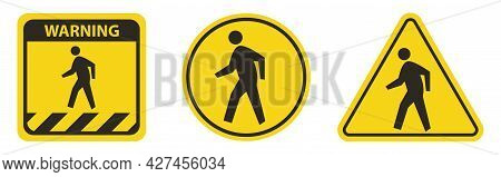 Pedestrian Crossing Symbol Sign Isolate On White Background