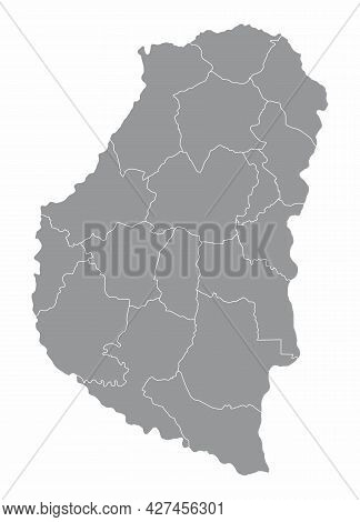 The Entre Rios Province Administrative Map Isolated On White Background, Argentina