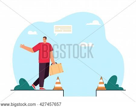 Man Stepping Into Hole Flat Vector Illustration. Person Inattentively Walking Into Pit, Bounded By W