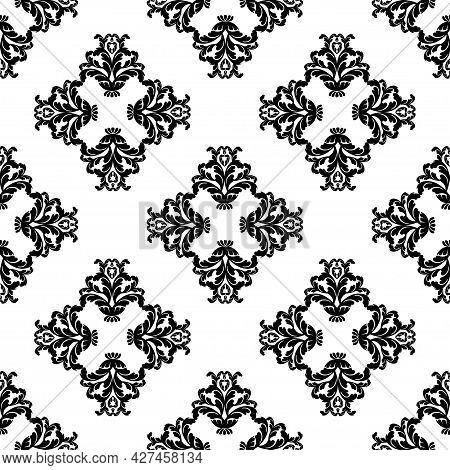 Vector Damask Vintage Baroque Scroll Seamless Ornament Swirl. Victorian Monogram Heraldic Shield Swi