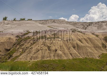 Badlands National Park, Sd, Usa - June 1, 2008: Colored Foothill From Yello Over Brown To Maroon Wit