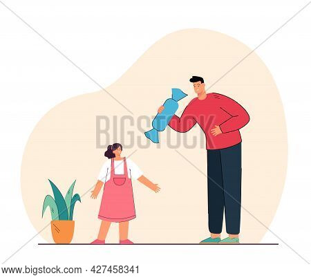 Man Giving Giant Candy To Little Girl Giant. Flat Vector Illustration. Dad Giving Sweetness To Happy