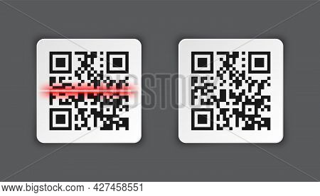 Realistic Qr Code Sticker On Gray Background. Identification Tracking Code. Serial Number, Product I