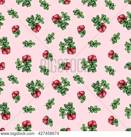 Watercolor Cowberry, Cranberry Seamless Pattern. Red Forest Berries Bunch And Green Leaves On Pink.