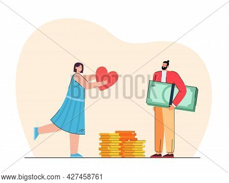 Girl Giving Love To Rich Man. Flat Vector Illustration. Tiny Man Holding Giant Banknotes And Coins,