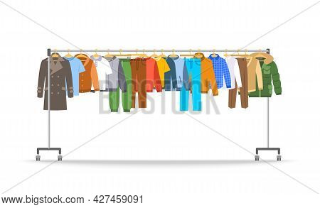 Men Clothes On Long Rolling Hanger Rack. Many Different Male Garments Hanging On Store Hanger Stand