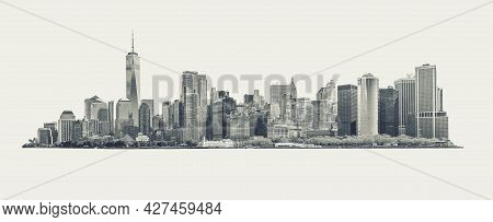Skyline Panorama Of Downtown Financial District And The Lower Manhattan In New York City, Usa. Black