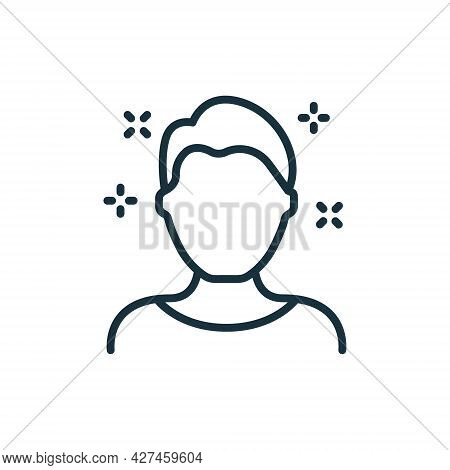 Male Hair Line Icon. Man With Shine Hairstyle Linear Pictogram. Natural Coiffure Icon. Editable Stro