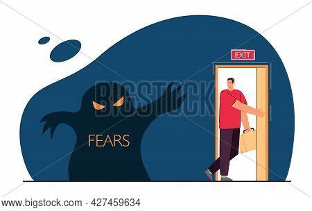 Man Leaving Room Full Of Fears. Flat Vector Illustration. Man Leaving Through Door With Inscription