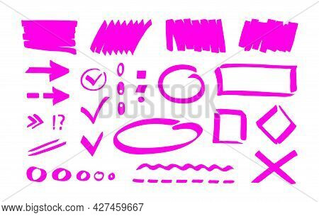 Pink Marker Highlighter Shapes, Marks, Strokes, Pointers, Lines. Simple Hand Drawn Editable Design E