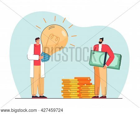 Person With Idea Applying To Investor For Financing. Flat Vector Illustration. Inventor With Giant B