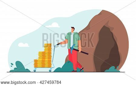 Man Making Money Flat Vector Illustration. Modern Young Man Coming Out Of Cave, Holding Pick And Car