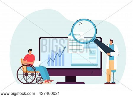 Disabled People Working Online Flat Vector Illustration. Men With Prostheses And In Wheelchair Doing