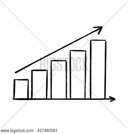 Graphic Chart With Arrow Up Sketch Illustration. Vector Hand Drawn Icon With Business Or Strathegy C