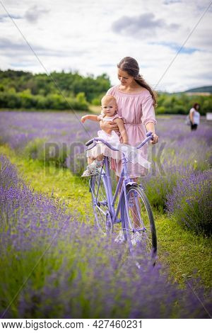 Mother With Her Little Daugher On Purple Bicycle On Lavender Background, Czech Republic