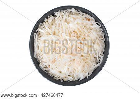 Sauerkraut On A White Background. Pickled Cabbage Close-up In A Plate On A White Background.