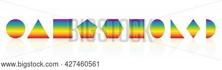 Geometric Shapes. Rainbow Colored Circle, Triangle, Square, Pentagon, Hexagon, Rectangle, Ellipse, R
