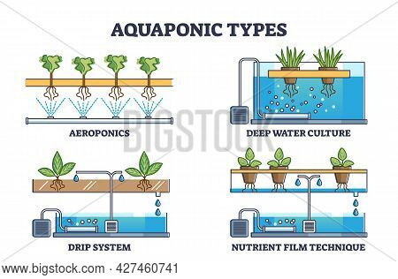 Aquaponic Watering And Irrigation Model Types For Plants Outline Collection. Aeroponics, Deep Water