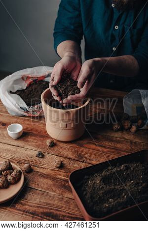 Man Putting Soil Into Terracotta Pot For Sowing Houseplant Seeds