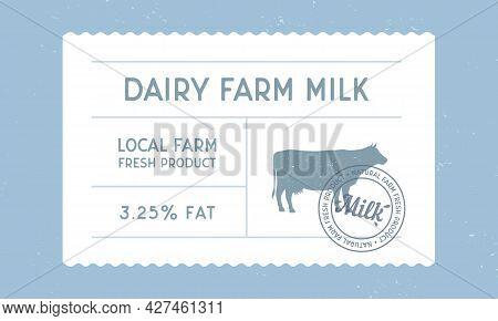 Dairy Farm Milk Vintage Label. Milk, Dairy Products Vintage Packaging Design. Cow Milk Warranty, Lab