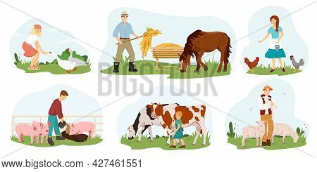 A Set Of Farmers, People Who Take Care Of Pets. Vector Flat Illustration. Collection Of Characters,