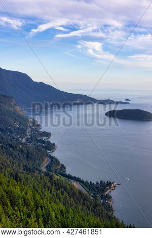 Sea To Sky Hwy Viewed From Tunnel Bluffs Hike, In Howe Sound, North Of Vancouver, British Columbia,