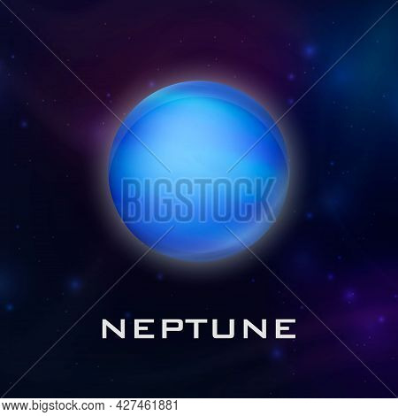 Planet Neptune. Vector 3d Realistic Space Planet In Space Starry Sky. Galaxy, Astronomy, Space Explo