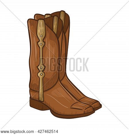 Vector Doodle Illustration Of Leather Cowboy Boots With Heels And Straps. Sticker On The Theme Of Th