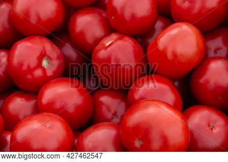 Lots Of Red Tomatoes. Red Ripe Tomatoes. Close-up. Background Or Texture Of Tomatoes.