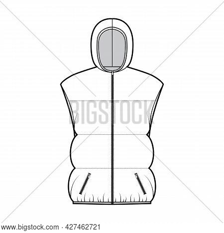 Down Vest Puffer Waistcoat Technical Fashion Illustration With Hoody Collar, Zip-up Closure, Pockets