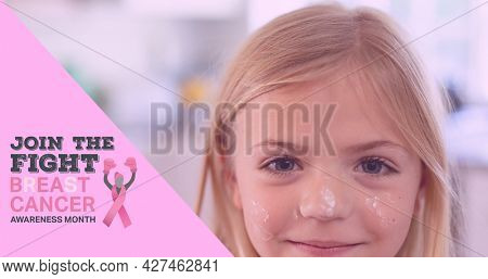 Composition of pink ribbon logo and breast cancer text, with smiling schoolgirl. breast cancer positive awareness campaign concept digitally generated image.