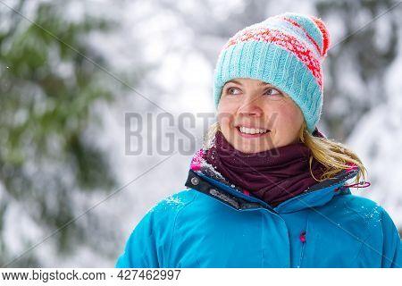 Winter Travel Concept. Female Enjoying Of Wonderful Winter Day Winter Tourism.