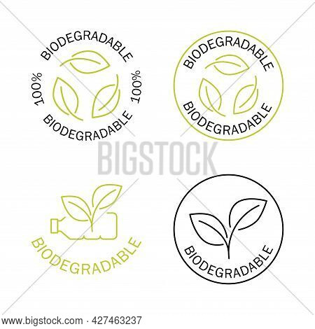 Biodegradable Icons. Icon Of Plastic Bottle With Green Leaves. Turns To Plant Concept. Eco Friendly