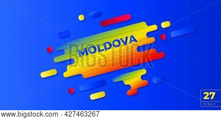 Blue Background Design With Simple Typography Of Moldova Independence Day. Good Template For Moldova
