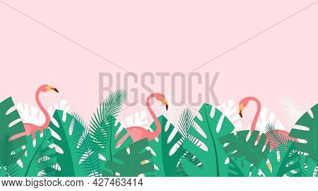 Horizontal Repeated Pattern With Tropical Plants And Pink Flamingos. Summer Background With Green Pa