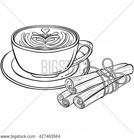 Cappuccino Drink With Latte Art And Cinnamon Sticks. Hand Drawn Vector Illustration In Sketch Style