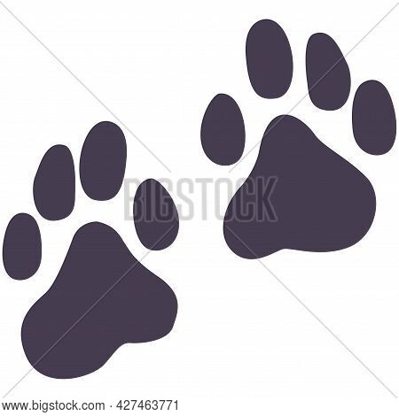 Vector Flat Foot Prints Of Dog Or Cat Steps. Illustration Isolated On White Background. Dog Or Cat P