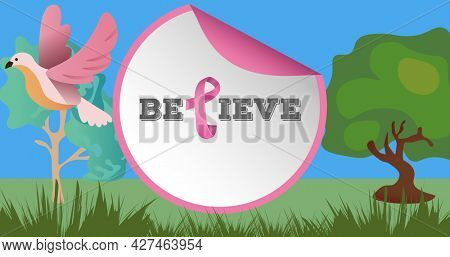 Composition of pink ribbon logo and breast cancer text on image of trees and bird. breast cancer positive awareness campaign concept digitally generated image.